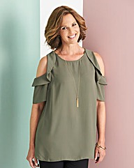 Khaki Ruffle Cold Shoulder Blouse
