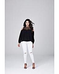 Black Crochet Cold Shoulder Blouse