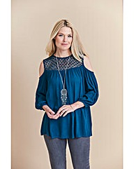 Teal Crochet Cold Shoulder Blouse