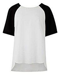Ivory/Black Raglan Sleeve Shell Top