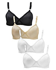 4 Pack Claire Assorted Non Wired Bras
