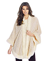 Lovedrobe Beige Faux Fur Cape Jacket