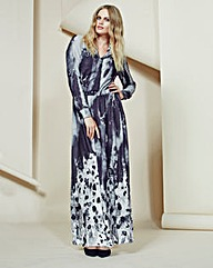 Look Printed Shirt Style Maxi Dress