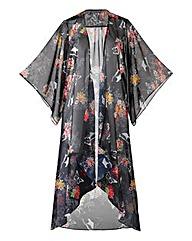 Grazia Oriental Floral Print Maxi Kimono