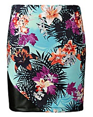 Grazia Short PU Panel Printed Skirt
