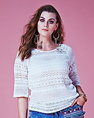 Jeffrey & Paula Crochet Look Lace Top