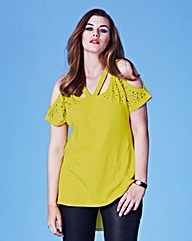 Grazia Stud Trim Cut Out Jersey Top