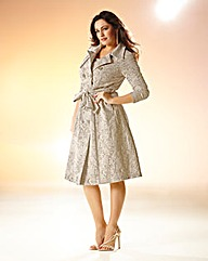 Kelly Brook Belted Lace Trench Coat