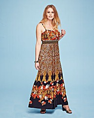 Lovedrobe Stud Trim Print Maxi Dress