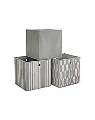 Set of 3 Non Woven Storage Boxes - Grey