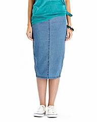 Denim Midi Tube Skirt