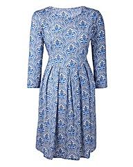 Petite Folk Print Day Dress