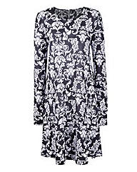 Petite Baroque Print Jersey Swing Dress