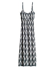 Zig Zag Print Strappy Jersey Maxi Dress