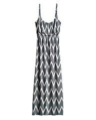 Zig Zag Print Strappy Jersey Maxi Dress