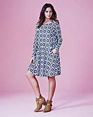 Geo Print Jersey Swing Dress - Petite