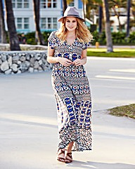 Tile Print Kaftan Maxi Dress