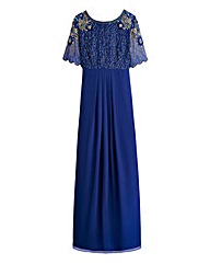 Scalloped Sleeve Sequin Maxi Dress