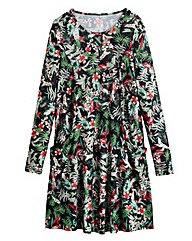 Botanical Print Jersey Swing Dress - Reg