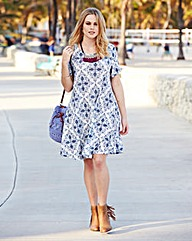 Tile Print Jersey Swing Dress