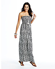 Mono Leaf Print Maxi Dress - Regular
