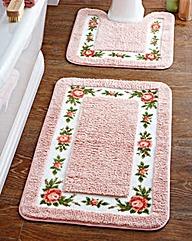 Quick Dry Microfibre Roses Pedestal Mat