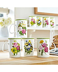 Spring Posy Porcelain Mugs 4&4