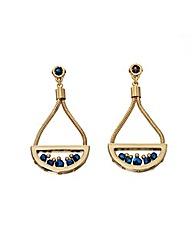 Semi Circle With Cobalt Drop Earrings