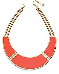 Orange Enamel Bib Necklace With Chain