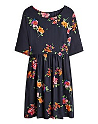 Large Floral Short Sleeve Babydoll Dress