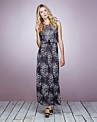 Animal Print Maxi Dress With Cowl Back
