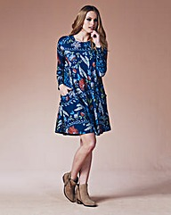 Navy Printed Jersey Swing Dress Regular