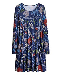 Navy Printed Jersey Swing Dress Tall