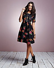 Floral Short Sleeve Babydoll Dress Tall