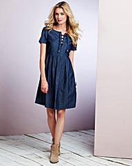 Denim Lace Up Babydoll Dress