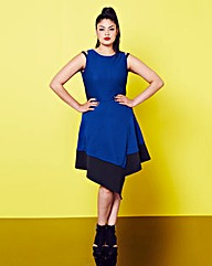 Simply Be Contrast Hem Cobalt Blue Dress