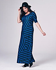Geo Stripe Jersey Maxi Dress