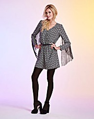 Fringed Long-Sleeve Print Playsuit