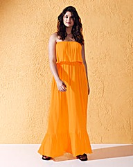 Strapless Belted Maxi Dress