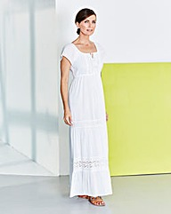 Lace-Trim Tiered Maxi Dress