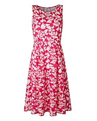 Print Tie Waist Skater Dress