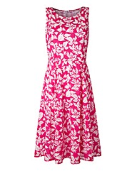 Cerise/White Floral Print Skater Dress