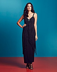 Fringed Jersey Maxi Dress