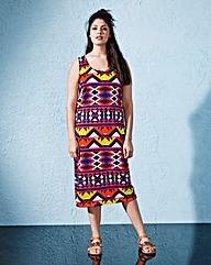 Cut-Out Back Print Jersey Midi Dress