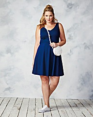 V Neck Sleeveless Skater Dress