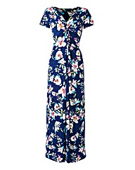 Blue Floral Twist Knot Front Maxi Dress