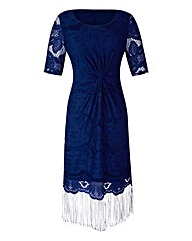 Fringed Lace Short-Sleeve Dress
