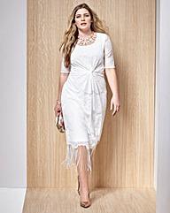 Fringed Lace Short-Sleeve Dress