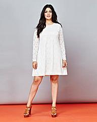 Daisy Lace Long-Sleeve Swing Dress