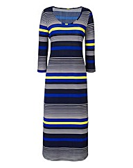 Navy/Lime Stripe Jersey Midi Dress 45in